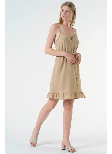 Reyon Askılı Bel Lastikli Günlük Keten Elbise Kiremit Bej